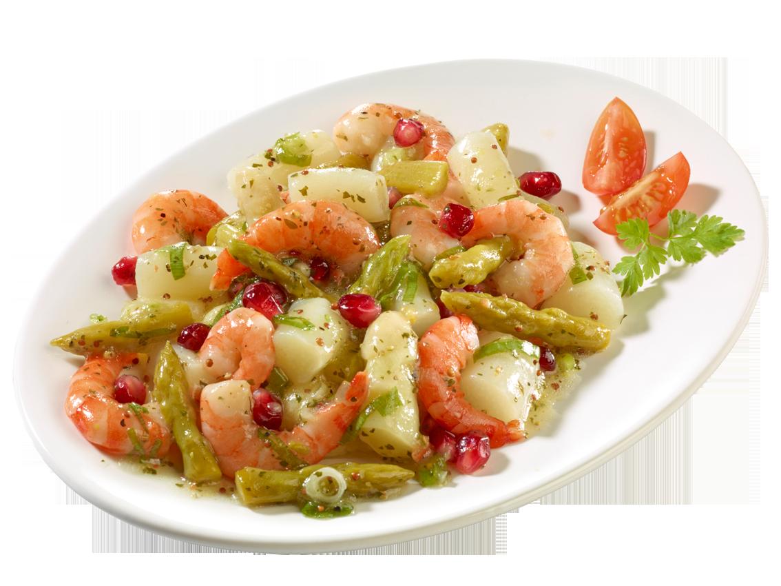 Spargel-Salat mit Garnelen